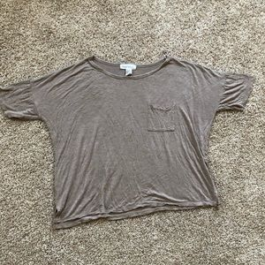 Forever 21 Tan Short Sleeve Top with front Pocket
